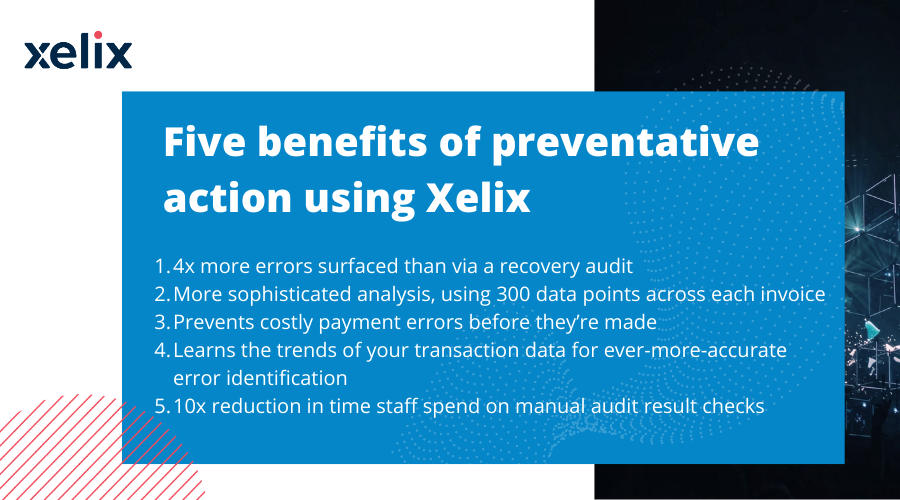 Five benefits of preventative action using Xelix (vs recovery audit)